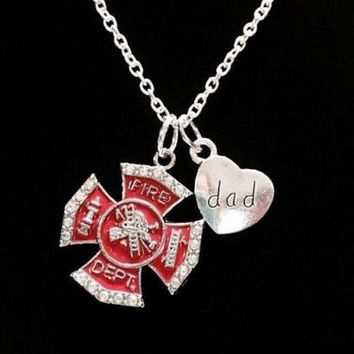 Red Maltese Cross Firefighter Dad Fireman Firefighters Gift Charm Necklace