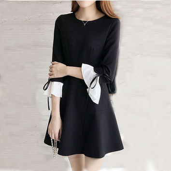 Clothing Fashion Slim Empire Waist Bow Butterfly Sleeve Big Office Ladies Dresses