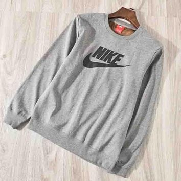 NIKE Autumn And Winter Fashion New Bust Letter Hook Print Thick Keep Warm Women Men Long Sleeve Sweater Top Gray