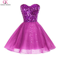 Grace Karin Prom Dresses 2017 Tulle Off Shoulder Short Golden Purple Black Sparkly Sequin Formal Gowns Pretty Party Dress Prom