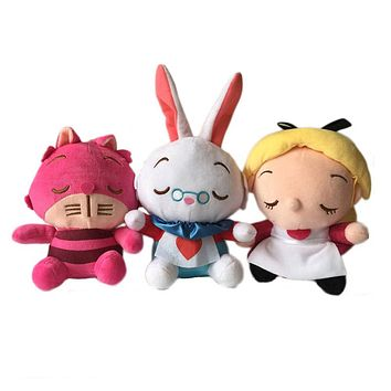 2016 New Movie Alice In Wonderland Peluche Plush Toys Cute Alice Cheshire Cat Rabbit Stuffed Dolls Brinquedos Gift 3pcs 20cm