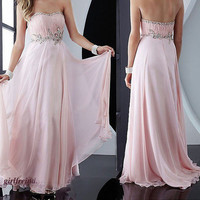 Elegant chiffon beading floor length dress - multicolor in from Your Closet