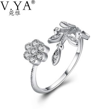 100% 925 Sterling Silver Ring AAA Crystal S925 Solid Silver Rings for Women Jewelry Leaves Tree VYA 925-sterling-silver-ring R25