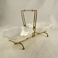 Relish Nut Bowls in Caddy - 2 Hazel Atlas Diamond Square White Milk Glass Bowls - Rare Mid Century Caddy Server