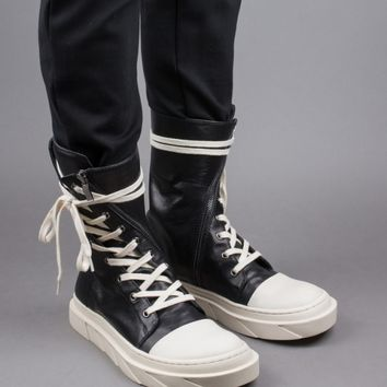 Indie Designs Mark Gonson Inspired Leather Boat High Top Sneakers