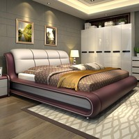Furniture Bed With Genuine Leather