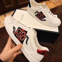 Gucci Ace Snake Embroidered White Leather Low-top Sneaker
