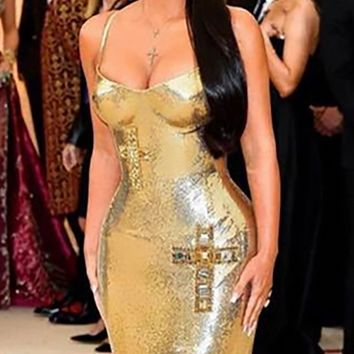 For The Last Time Gold Sequin Sleeveless Sequin Spaghetti Strap Studded Cross Bodycon Maxi Dress - Inspired by Kim Kardashian