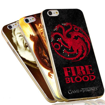 Jon Snow Wolf Fire and Blood The Game of Thrones Flags Case For iPhone 4 4S 5C 5 5S SE 6 6S 7 Plus Soft TPU Phone Cover
