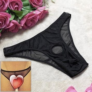 Sexy Panties for Men 2017 Newest Exotic Apparel Sexy Men's Underwear Transparent Mesh Lure Couple Dew Tunnel T Pants Men Thong