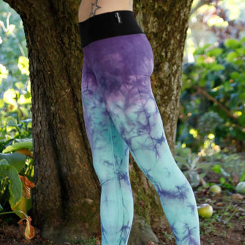 Hand Dyed leggings, Purple to Sea glass //Yoga//Festival//dance