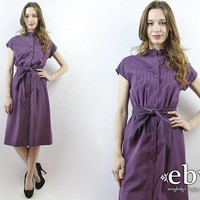 Purple Dress Plum Dress Midi Dress 80s Dress 1980s Dress Day Dress Secretary Dress Summer Dress Work Dress Belted Dress S M
