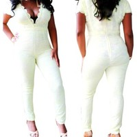 Yellow White Ivory Lace V Neck Romper/Jumpsuit