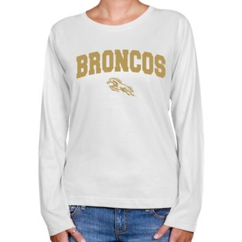 Western Michigan Broncos Ladies White Logo Arch Long Sleeve Classic Fit T-shirt