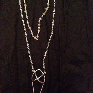 Arrowhead Layered Necklace w/Crystal Rosary Chain