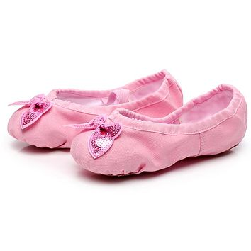 8 colors kids adult canvas soft sole girls dancing shoes for women's ballet flat shoes butterfly