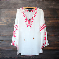 gauze free spirited bohemian embroidered tunic