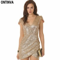 Sexy Sequin Dress Women Party Dresses Black Gold Deep V Neck Bodycon Clubwear Novelty Woman Clothes