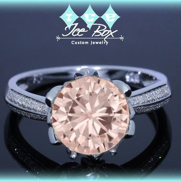Pink Moissanite Engagement Ring 1.5ct Round Peach Pink Moissanite 10k White Gold Diamond Lotus Blossom Setting Nice Morganite alternative