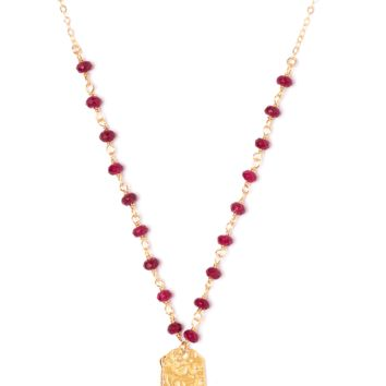 Tess and Tricia Lyra Cranberry Beaded Chain + Penta Necklace