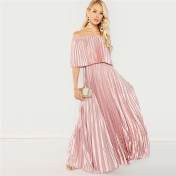 Pink Off The Shoulder Pleated Satin Dress