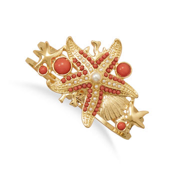 Gold Tone Starfish Fashion Bangle