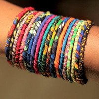 Stackable Ankara Bangles - Set of 10 - Free Shipping