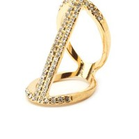 Caged Rhinestone Statement Ring by Charlotte Russe - Gold
