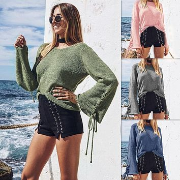 Women Solid Color Bandage Long Sleeve Knitwear Sweater Tops