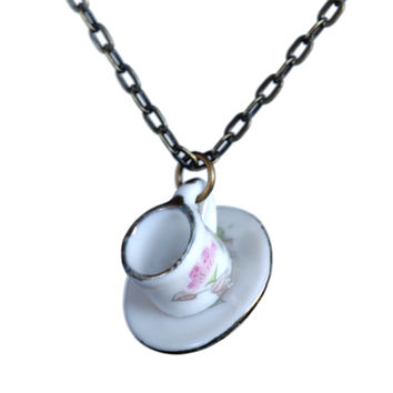 Dollhouse miniature cup-and-saucer necklace