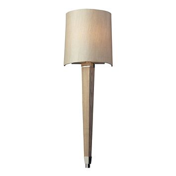 31331/1 Jorgenson 1 Light Wall Sconce In Polished Nickel And Taupe Wood
