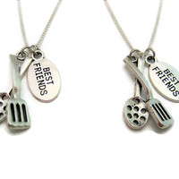 Spatula Necklace Set Best Friends Necklace Spoon Necklace Cooking Necklace Food Jewelry Food Necklace Cooking Jewelry Spatula Jewelry