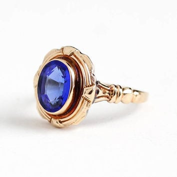 Vintage 10k Rosy Yellow Gold Garnet & Glass Doublet Ring - 1940s Size 6 3/4 Cobalt Blue Oval Stone September Birthstone Fine Jewelry