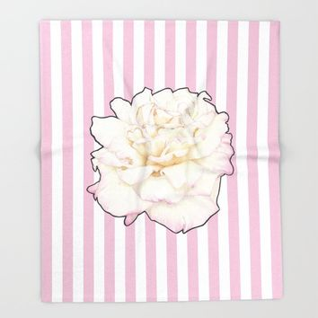 Pale Rose on Stripes Throw Blanket by drawingsbylam