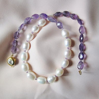 White Freshwater Pearl and Faceted Amethyst Neckclace Purple and White