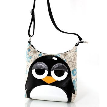 Sleepyville Critters Sleepy Eye Penguin Canvas Crossbody Bag (White)