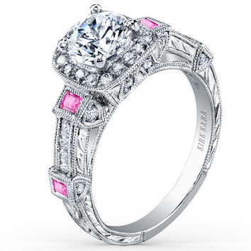 "Kirk Kara ""Carmella"" Pink Sapphire Bezel Set Halo Diamond Engagement Ring"