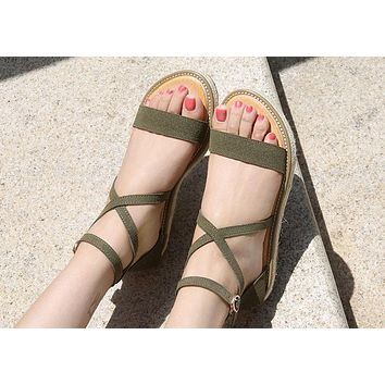 Hot-faced fashionable sandals, hemp rope soles and women's shoes Green