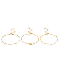 FOREVER 21 Delicate Chain Bracelet Set Gold/Pink One