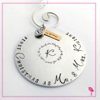 """""""First Christmas as Mr. & Mrs"""" Hand Stamped Ornament by Bling Chicks"""