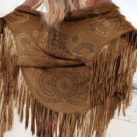 Coffee Brown Cut-Out Asymmetric Fringe Kimono