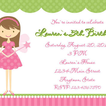 Fairy Princess Girls Birthday Invitations 1