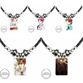Kuroko No Basket Akashi Characters Glass Necklace Statement Black Leather Bead Pendant Necklace For Lovers Girl Friend Best Gift