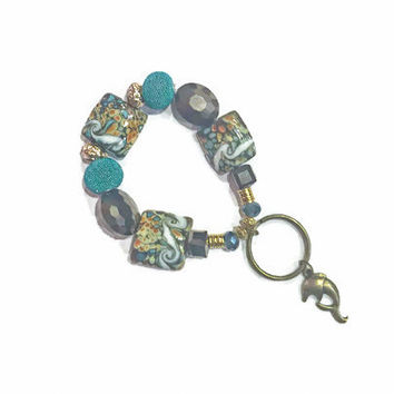 Beaded Charm Keyring - Keychain Stretch Bracelet Key Fob in Teal and Brown - Keychain Bracelet
