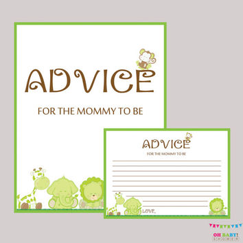 Advice for Mommy to Be Cards and Sign Safari - Baby Shower Printable - Instant Download Neutral Safari Advice for New Mommy Green - BS0001-G