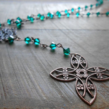 Emerald green Rosary Style Necklace - Swarovski chain necklace - Bohemian Rosary