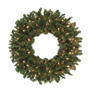10' Pre-Lit High Sierra Pine Commercial Artificial Christmas Wreath - Clear Lights