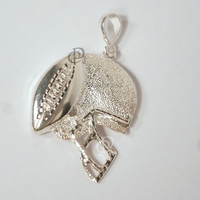 Sterling Silver Football Helmet with Football Pendant Charm