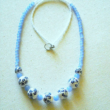 Flowers and Glass Beaded Necklace,White Necklace, Beaded Necklace,Sapphire Flower Necklace ,Ceramic Necklace,