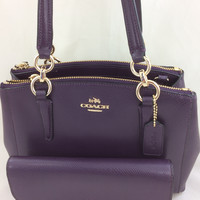 New Authentic Coach F36704 Mini Christie Crossgrain Leather Carryall Satchel Shoulder Bag in Aubergine Purple +Wallt Set